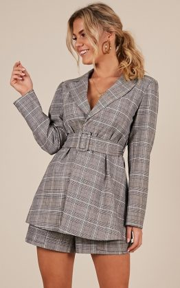 A Girls Dream Blazer In Grey Check