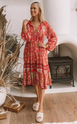 Poinciana Gown in Cherry