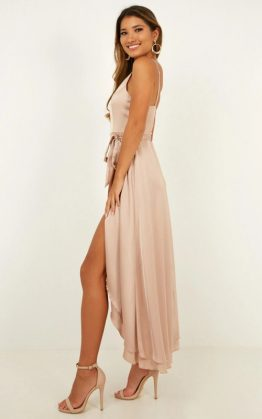 Treasuring You Dress In Mocha Satin
