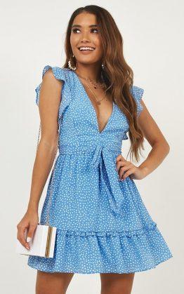 Rumours Dress In Blue Print