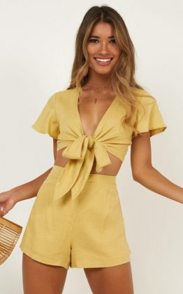 Sunny Days Two Piece Set In Yellow Linen Look