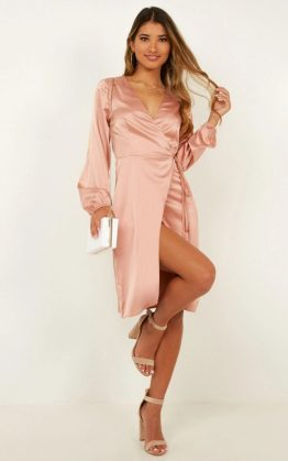 Half A Million Dress In Blush Satin