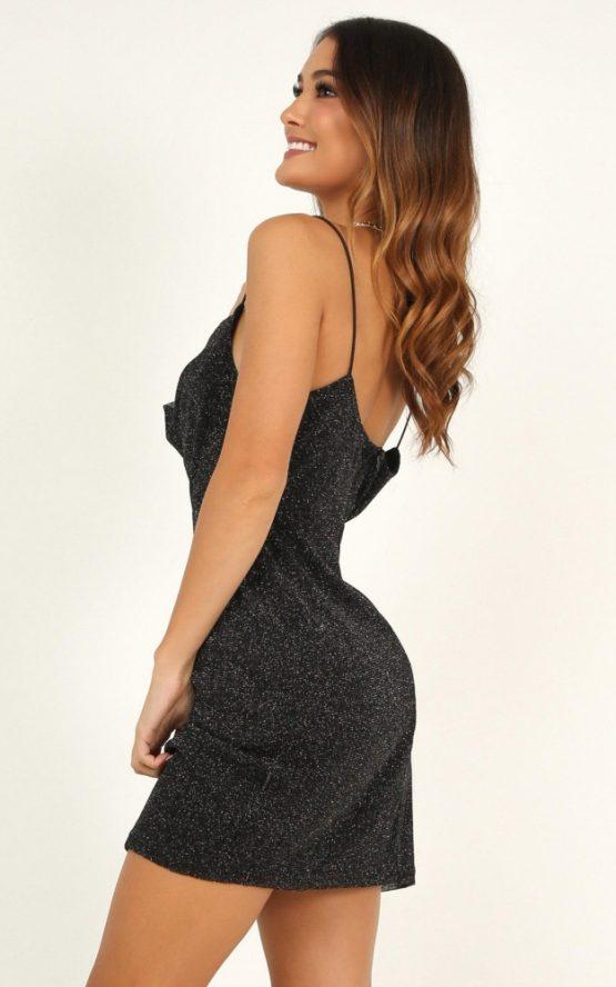 Explain It To Me Dress In Black Lurex