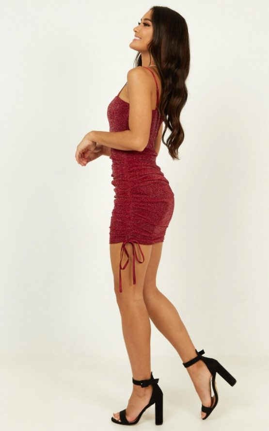 Time Stands Still Dress In Wine Mesh Lurex