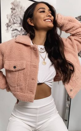 Team Spirit Teddy Jacket In Blush Teddy