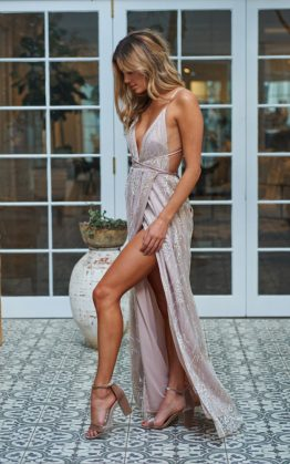 Olympia Maxi Dress in Champagne
