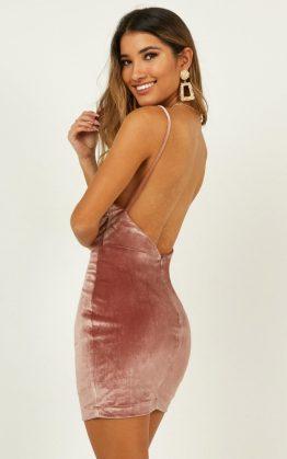 Take My Chances Dress In Dusty Rose Velvet
