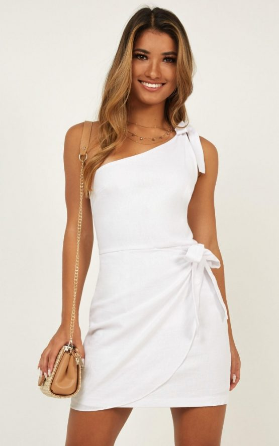 Keeping It Together Dress In White Linen Look