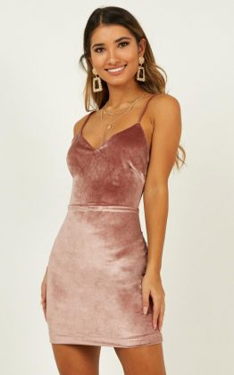 Take My Chances Dress In Dusty Rose Velvet