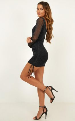 Want To See What You Go Dress In Black Mesh Lurex