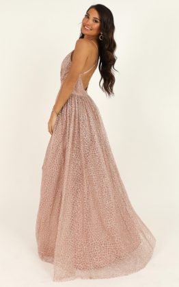 Lady Godiva Dress In Rose Gold Glitter