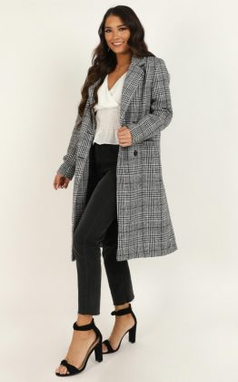 As Time Passes By Coat In Grey Check