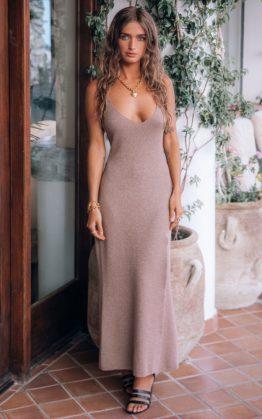 Petra Metallic Knit Slip Dress