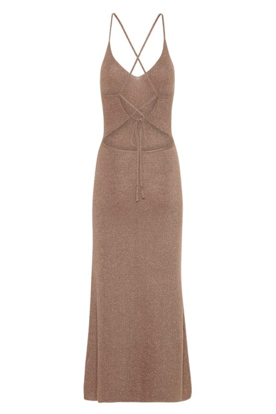 Petra Metallic Knit Slip Dress