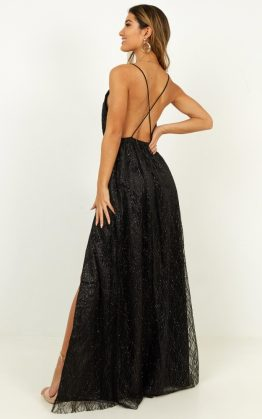 Pixi Love Maxi Dress In Black Glitter