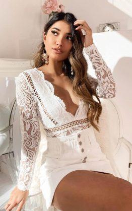 Love Buzz Bodysuit In White Lace