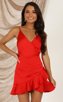 Cloud Cover Dress In Red Satin