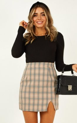 First Editions Skirt In Beige Check