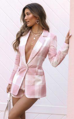 Growing Stronger Blazer In Blush Check