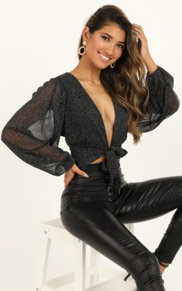 Head Over Heels Top In Black Lurex