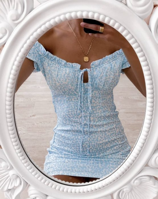 Love Me And Leave Me Dress in blue