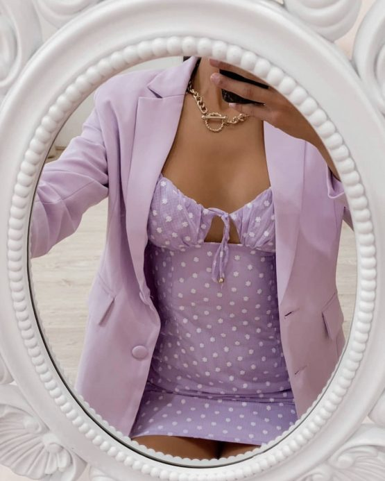 Baby Gotta Work Blazer in lilac & Seasons Come And Go Dress in lilac